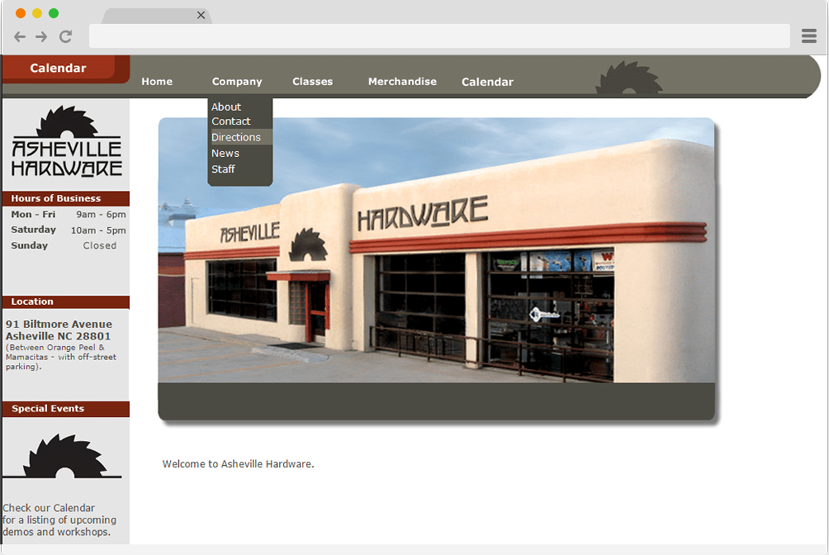 Web Design Sample Hardware Store